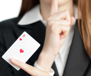 Poker Divas - woman with card